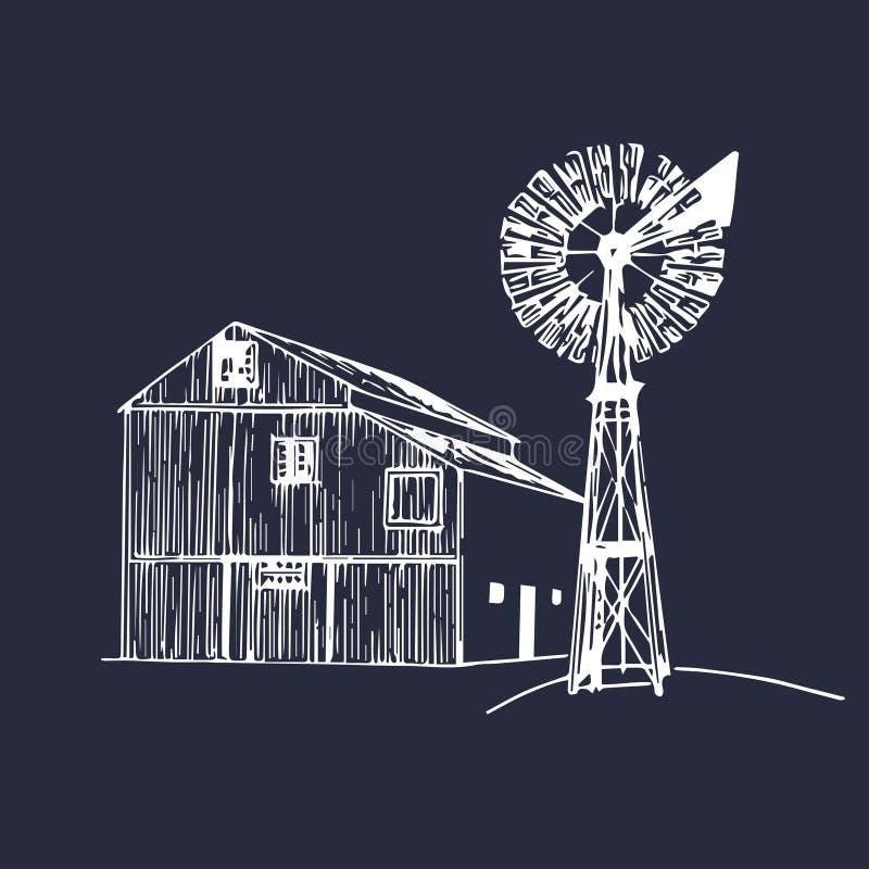 Vector Illustration der traditionellen Bauernhofscheune mit Windmühle in skizzierter Art Organisches Bioproduktplakat Eco-Lebensm vektor abbildung