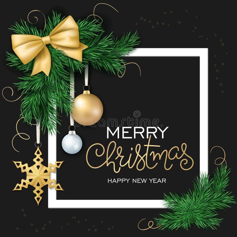 Vector Illustration der Weihnachtskarte mit Rahmen, die Weihnachtsverzierung und hängen an den Tannenbaumniederlassungen und am B lizenzfreie abbildung