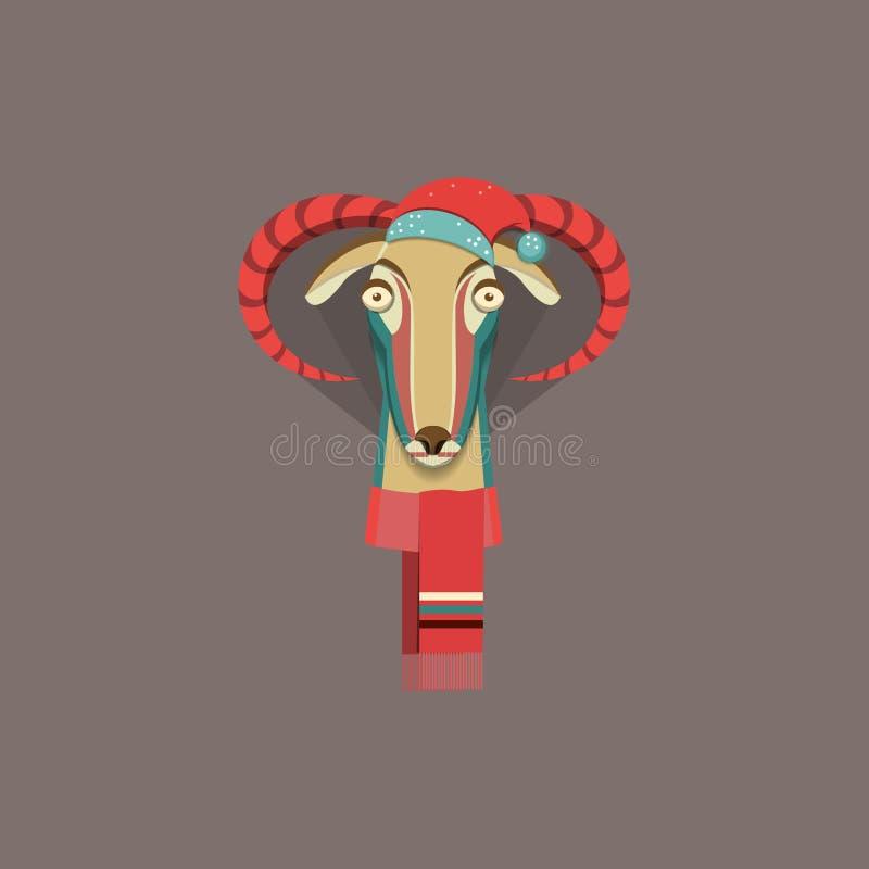 Vector Illustration der Ziege, Symbol von 2015 vektor abbildung