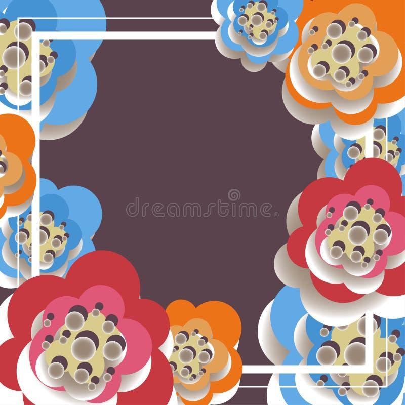 Vector Illustration des abstrakten Hintergrundes aus dem Rahmen und den Papierblumen heraus lizenzfreie abbildung