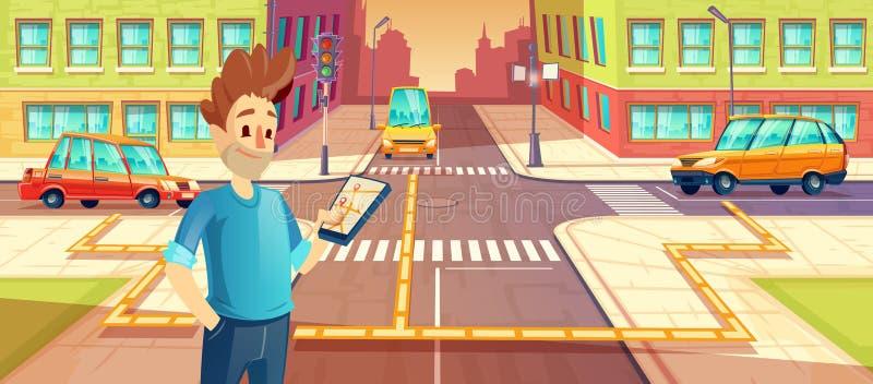 Vector Illustration des Carsharings, Mann mit Handy mit carpooling APP Fahrzeugmietkonzept für Reise, Reise stock abbildung