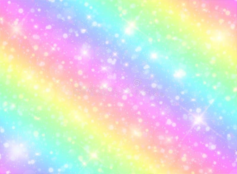 Vector Illustration des Galaxiephantasiehintergrundes und der Pastellfarbe Das Einhorn im Pastellhimmel mit Regenbogen lizenzfreie abbildung