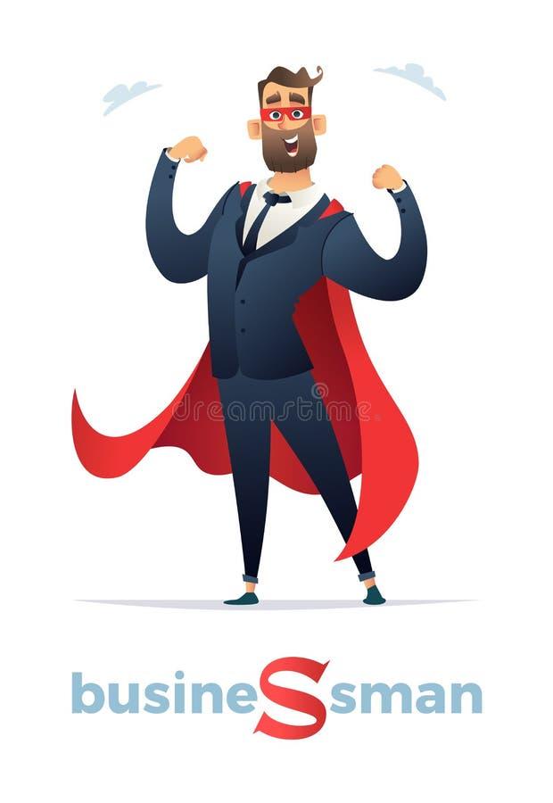 Vector Illustration des Geschäftsmannsuperheldcharakters, Büroangestellt-Mann Superheld Geschäftsmann im roten Mantel oder im Kap stock abbildung