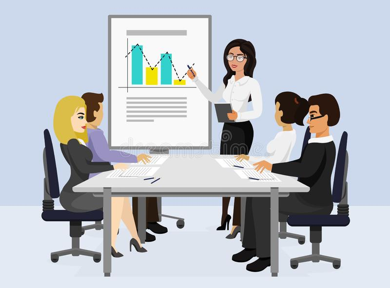 Vector Illustration des Geschäftstreffens, Darstellungskonzept, neues Projekt Frau spricht und zeigt Grafiken vor ihr lizenzfreie abbildung