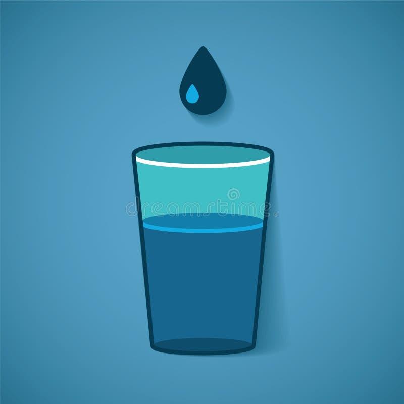 Vector Illustration des Glases mit Wasser und Tropfen stock abbildung