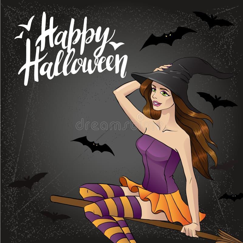 Vector Illustration des Halloween-Hexenfliegens auf Besen 2 stock abbildung