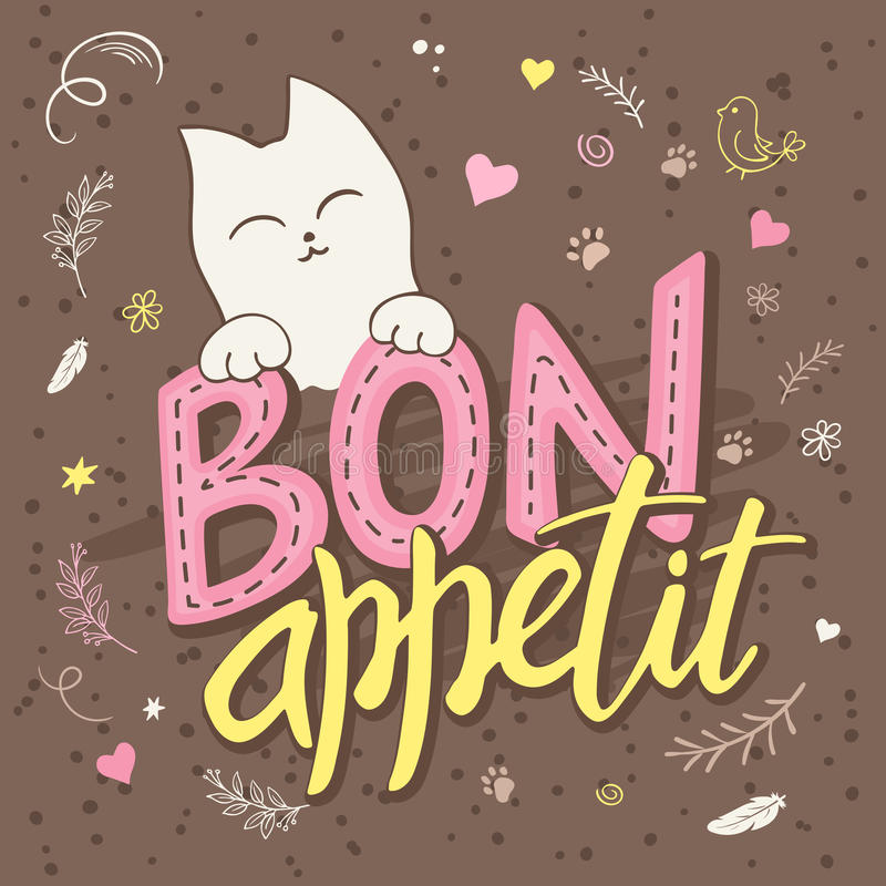 Vector Illustration des Handbeschriftungstextes - Bon appetit Es gibt die netten flaumigen Katzen, mit gelocktem swirly Pfotenabd vektor abbildung