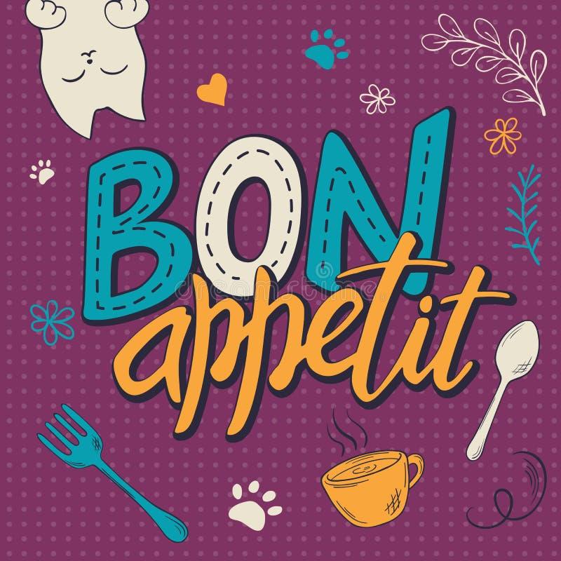 Vector Illustration des Handbeschriftungstextes - Bon appetit Plakatdesign mit der Katze, gelockt swirly Pfotenabdruck, Vogel und stock abbildung