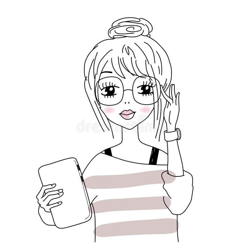 Vector Illustration des intelligenten Mädchens in den nerdy Gläsern, Hippie-Blick vektor abbildung