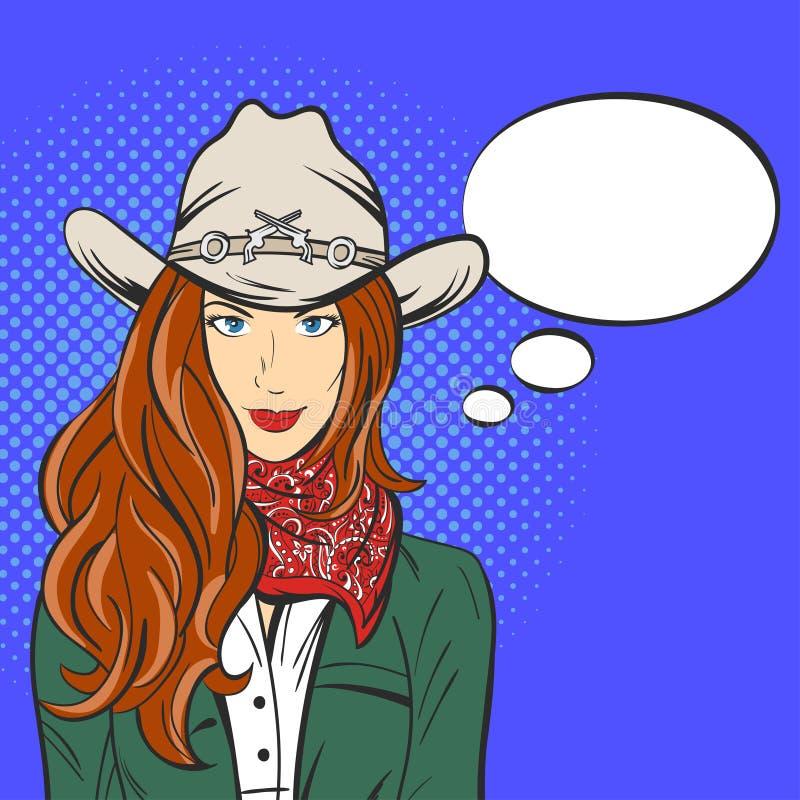 Vector Illustration des jungen hübschen Mädchens im Cowboyhut Pop-Art lizenzfreie abbildung