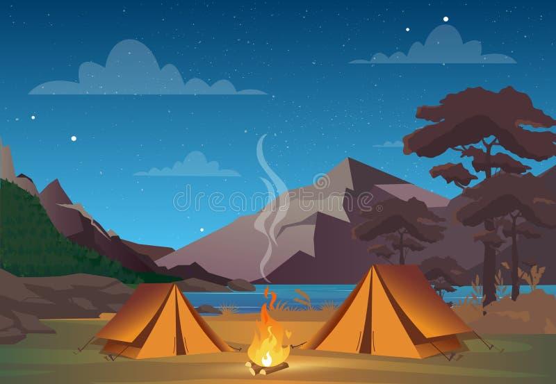 Vector Illustration des Kampierens in der Nachtzeit mit schöner Ansicht über Berge Kampierende Abendzeit der Familie Zelt, Feuer lizenzfreie abbildung