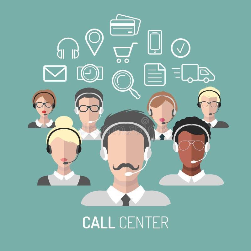 Vector Illustration des Kundendiensts, Call-Center-Betreiberikonen mit Kopfhörern vektor abbildung