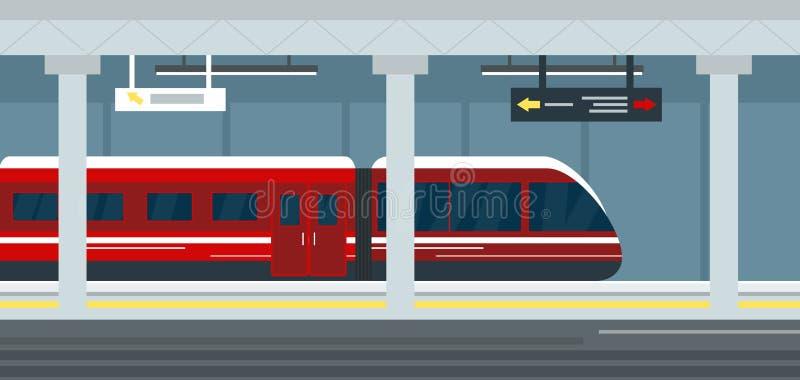 Vector Illustration des leeren U-Bahnstations-Innenraums, des Bahnhofsuntergrund der U-Bahn, der Metroplattform und des Zugs stock abbildung