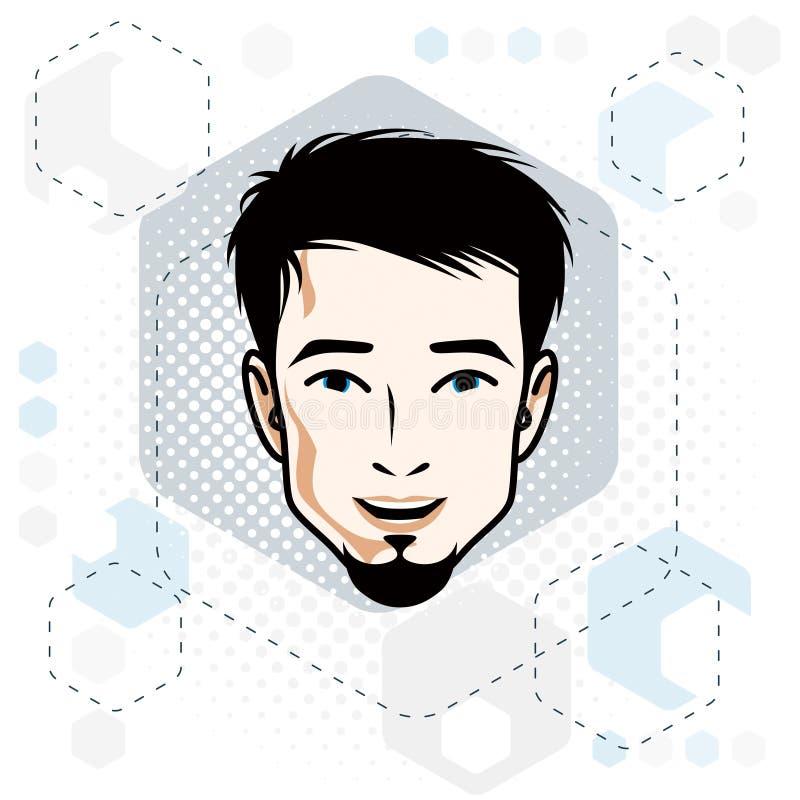 Vector Illustration des männlichen Gesichtes der hübschen Brünette mit Bart, Position lizenzfreie abbildung