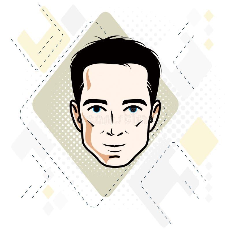 Vector Illustration des männlichen Gesichtes der hübschen Brünette, positives Gesicht stock abbildung