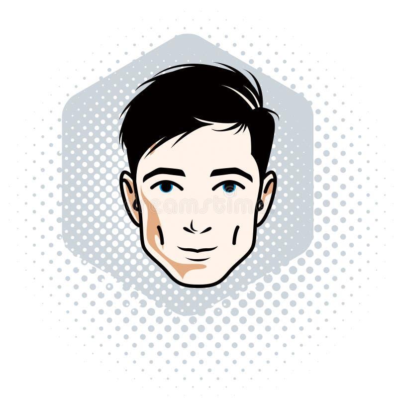 Vector Illustration des männlichen Gesichtes der hübschen Brünette, positives Gesicht lizenzfreie abbildung