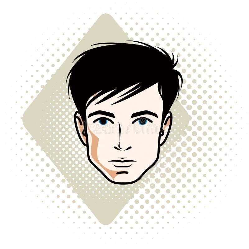 Vector Illustration des männlichen Gesichtes der hübschen Brünette, positives Gesicht vektor abbildung