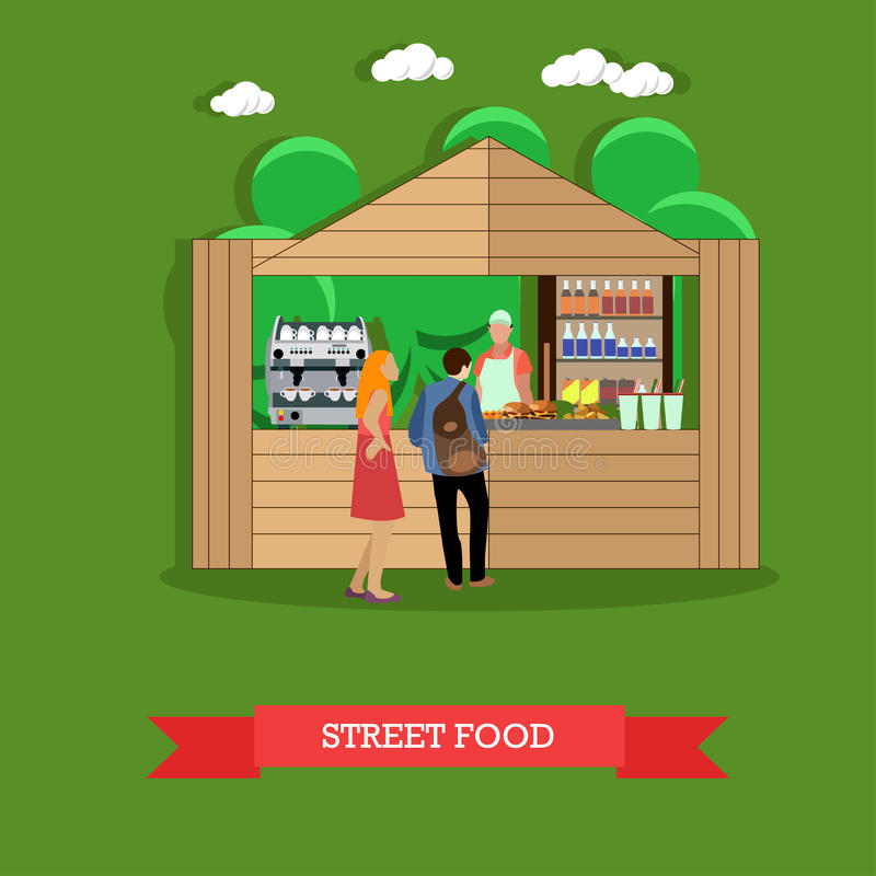 Vector Illustration des Mannes und der Frau nahe Straßenlebensmittelstall stock abbildung