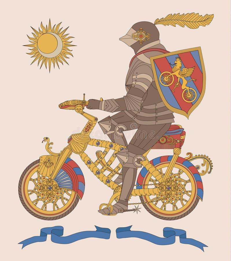 vector Illustration des mittelalterlichen Ritters auf einem Fahrrad stockfotografie
