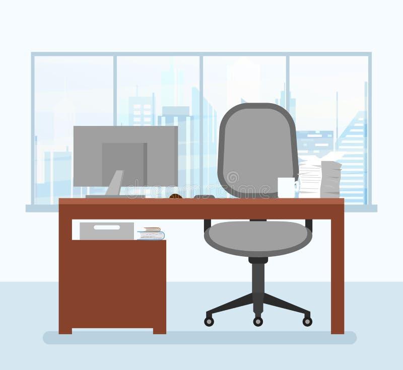 Vector Illustration des modernen Arbeitsplatzes im Büroinnenraum mit Computer in der flachen Art lizenzfreie abbildung