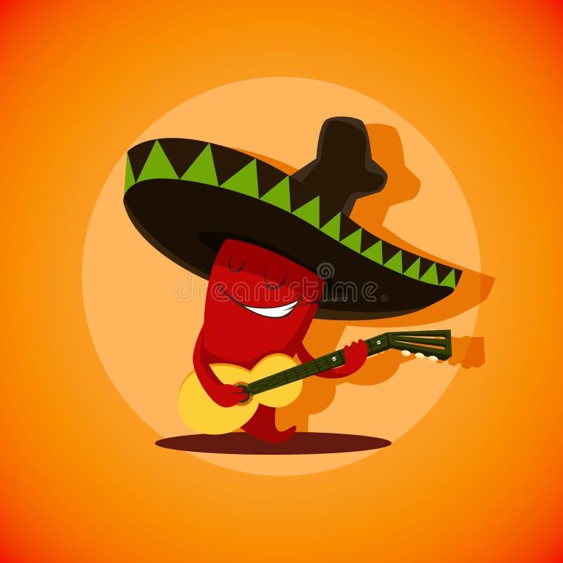 Vector Illustration des netten mexikanischen Paprikapfeffers, der spielt lizenzfreie abbildung