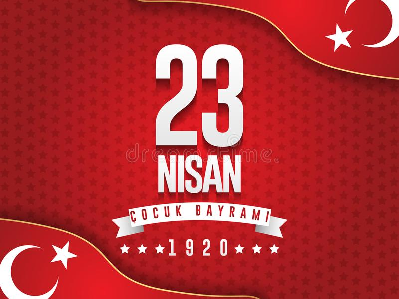 Vector Illustration des nisan cocuk baryrami 23, Übersetzung: Das Türkische-am 23. April nationales Souveränität und Kinder` s Ta lizenzfreie abbildung