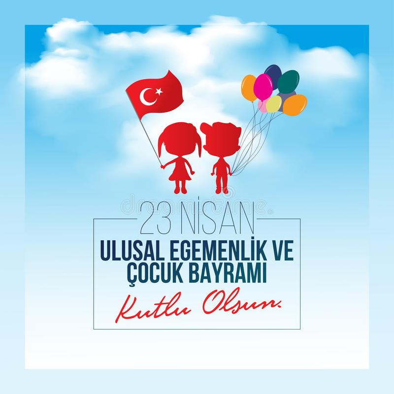 Vector Illustration des nisan cocuk bayrami 23, Übersetzung: Das Türkische-am 23. April nationales Souveränität und Kinder` s Tag vektor abbildung