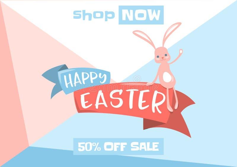 Vector Illustration des Ostern-Frühlingsverkaufshintergrundes mit nettem Häschen lizenzfreie abbildung