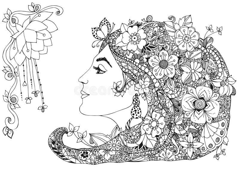 Vector Illustration des Profilmädchens mit Blumen in ihrem Haar, zentangl, Gekritzel, zenart Schönheit, Mode, Lilie lizenzfreie abbildung