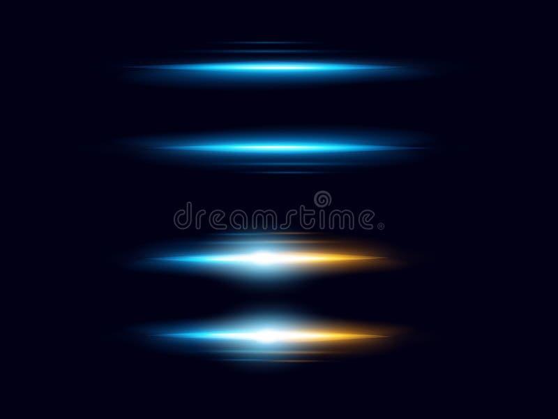 Vector Illustration des realistischen Lichteffektes, Lichtblitze Blendenfleckelementsammlung auf dunkelblauem Hintergrund stock abbildung