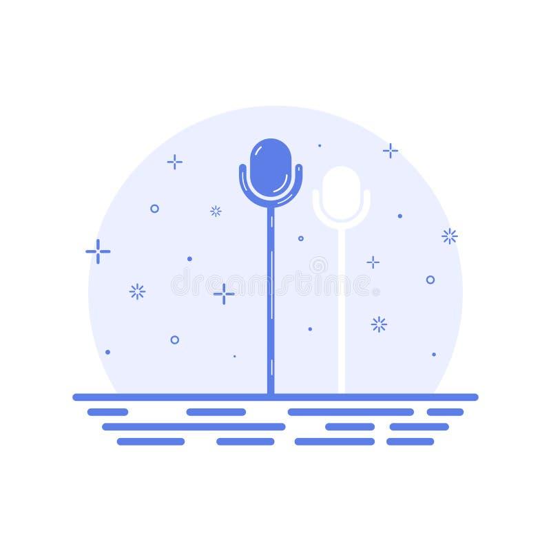 Vector Illustration des Retro- Mikrofons des Ikonenkonzeptes auf Stadium in der Linie Art vektor abbildung