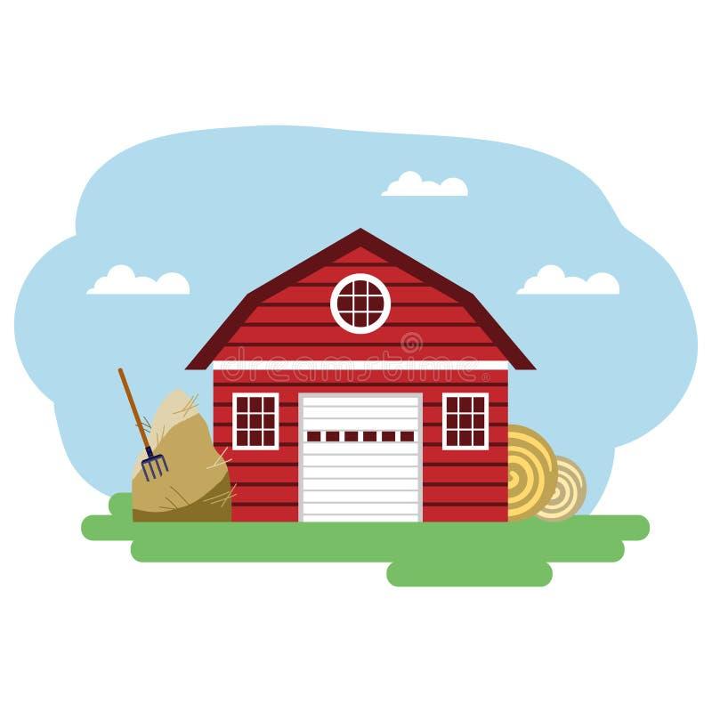 Vector Illustration des roten Wirtschaftsgebäudes und der in Verbindung stehenden Einzelteile lizenzfreie abbildung