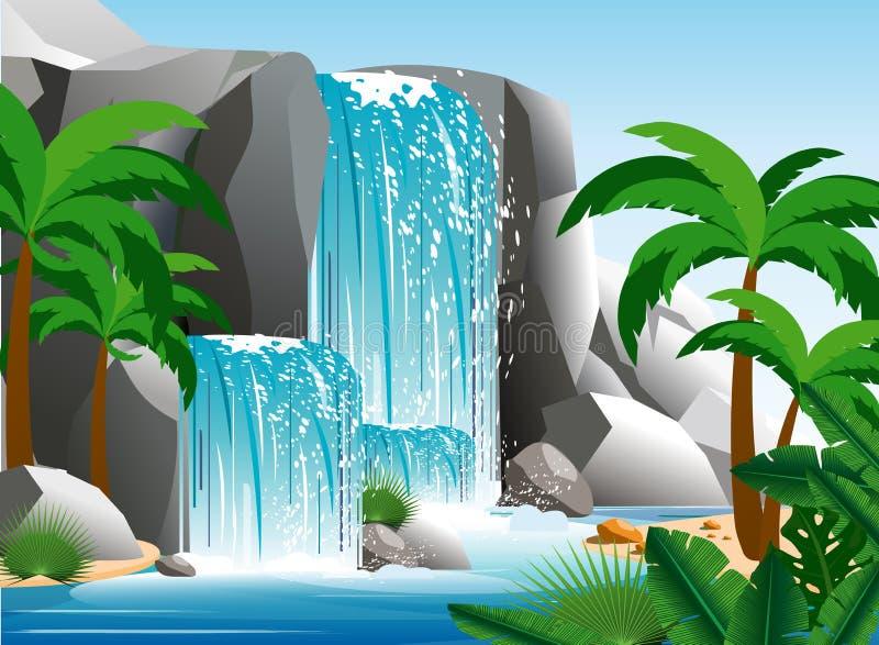 Vector Illustration des schönen Wasserfalls in der tropischen Dschungellandschaft mit Bäumen, Felsen und Himmel Grünes Palmenholz stock abbildung