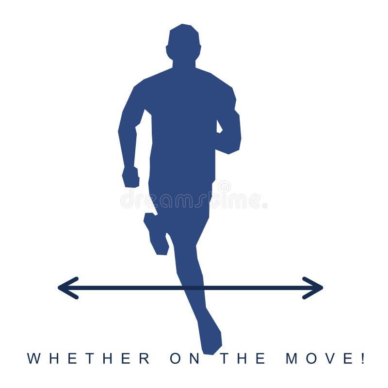 Vector Illustration des Schattenbildes eines Athleten und der Turnschuhe vektor abbildung
