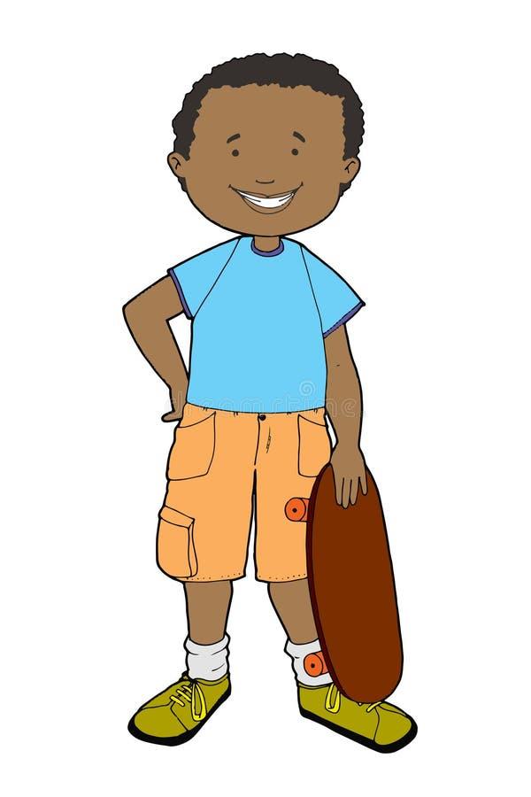 Vector Illustration des Schuljungen zusammen mit seinem Skateboard stockfotos