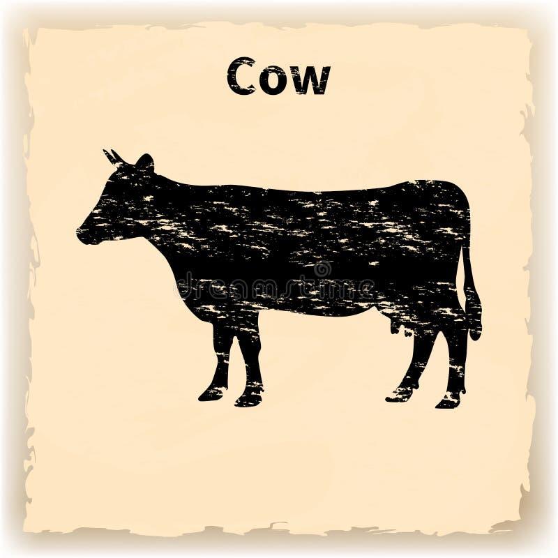 Vector Illustration des schwarzen Schattenbildes einer Kuh vektor abbildung