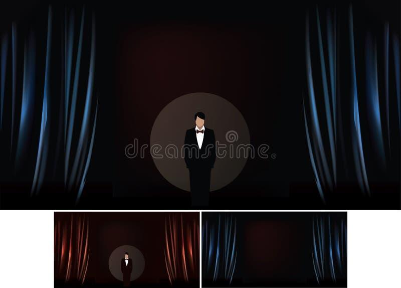 Vector Illustration des Theaterstadiums mit realistischer Illustration des Vorhangs stock abbildung