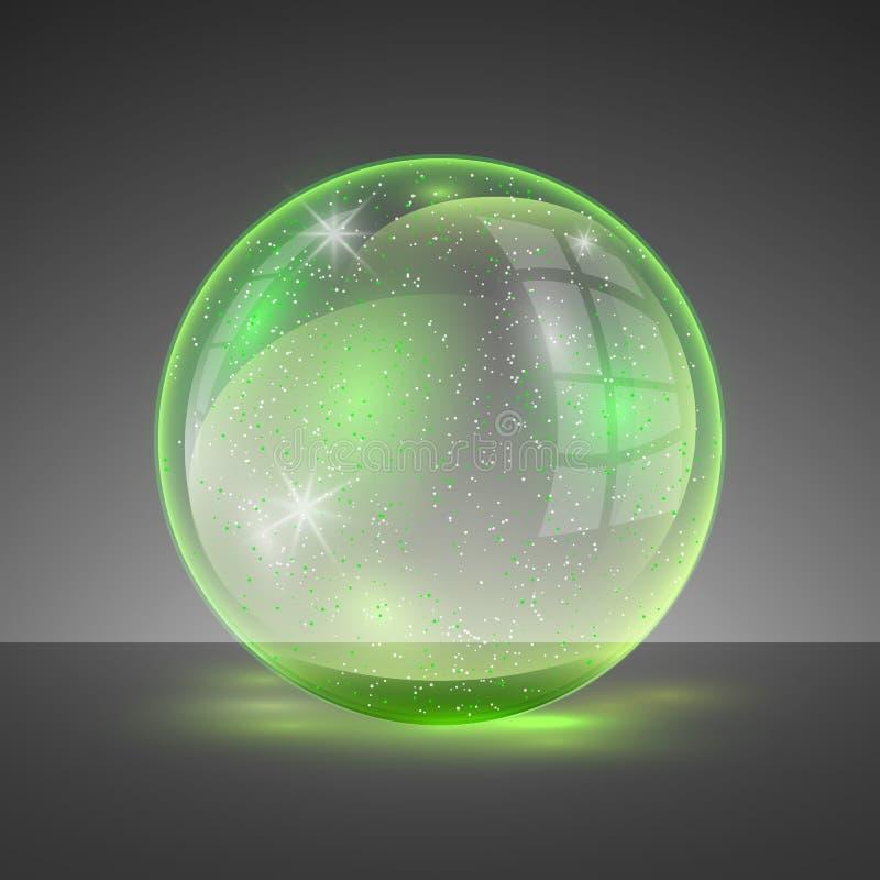 Vector Illustration des transparenten klaren glänzenden Glaskugellogos lizenzfreie abbildung