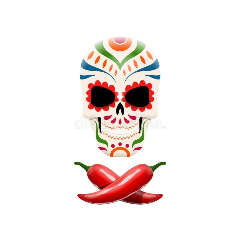 Vector Illustration des verzierten Zuckerschädels und der gekreuzten Paprikapfeffer Piratensymbole in der mexikanischen Art stock abbildung