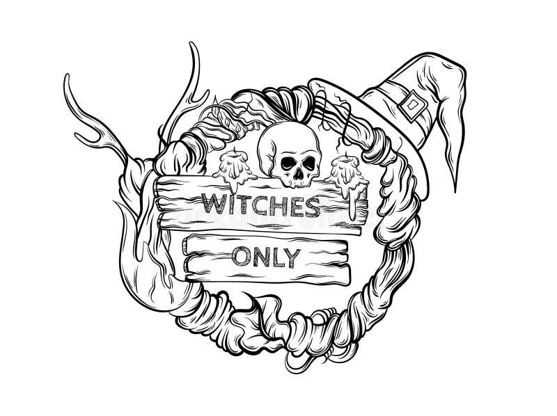 Vector Illustration des witching Kranzes mit Hörnern, Schädel, Hut, Kerzen, hölzerne Tabletten stock abbildung