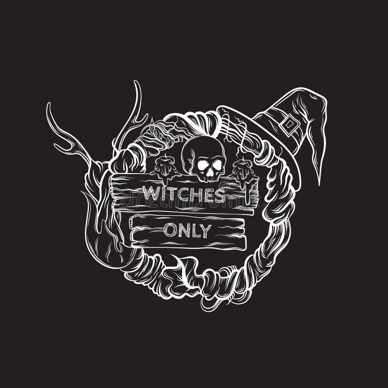 Vector Illustration des witching Kranzes mit Hörnern, Schädel, Hut, Kerzen, hölzerne Tabletten vektor abbildung