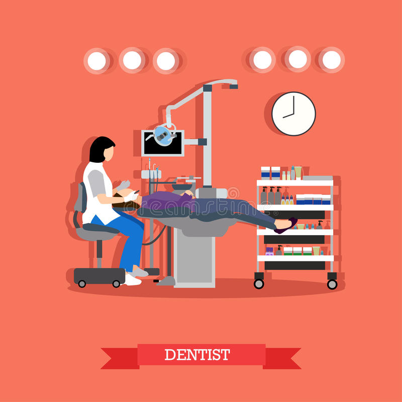 Vector Illustration des Zahnarztes und des Patienten in der zahnmedizinischen Klinik lizenzfreie abbildung