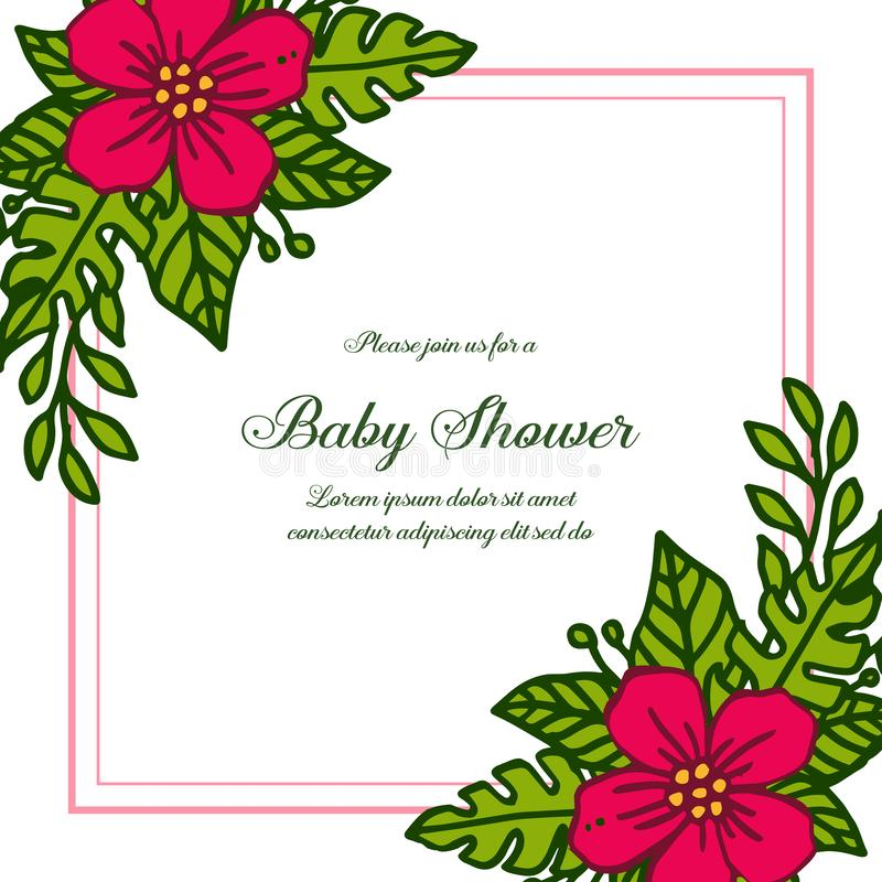 Vector illustration design of card baby shower with various red bouqet frame blooms. Hand drawn royalty free illustration