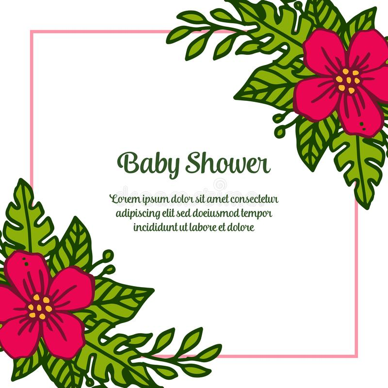 Vector illustration design of card baby shower with various red bouqet frame blooms. Hand drawn stock illustration