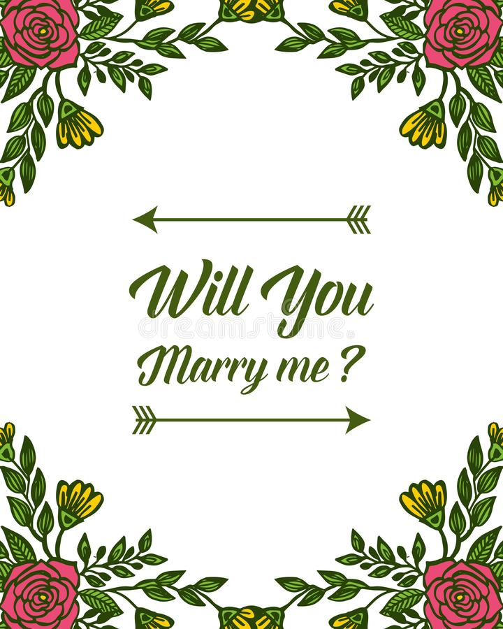 Vector illustration design colorful bouqet flower frames for will you marry me. Hand drawn stock illustration