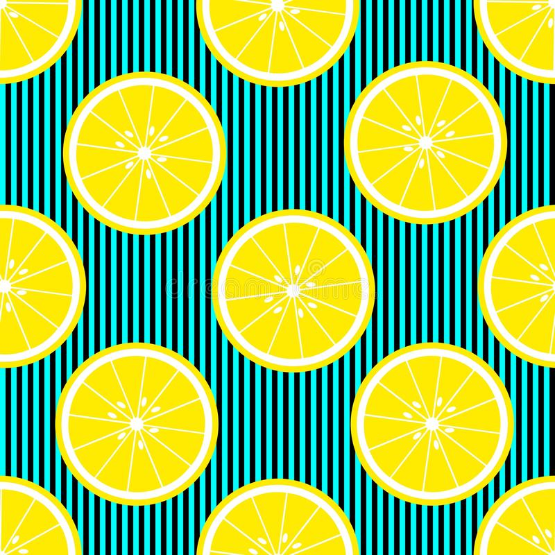 Seamless background with with stripes and lemon slices. Vector illustration design for greeting card or template vector illustration