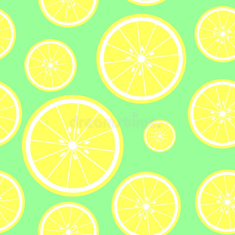 Seamless green background with lemon slices. Vector illustration design for greeting card or template royalty free illustration
