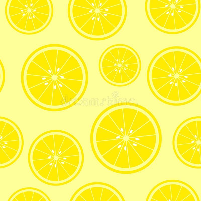Seamless yellow background with lemon slices. Vector illustration design for greeting card or template vector illustration