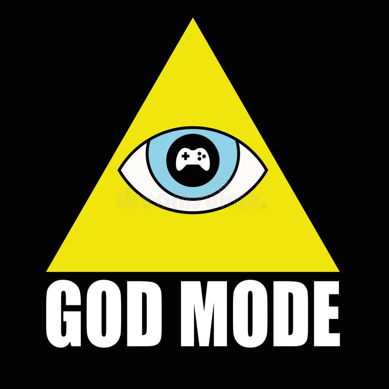 Vector illustration design for T-shirt with pyramid and God mode. Text. God mode refers to difficulty in videogames royalty free illustration