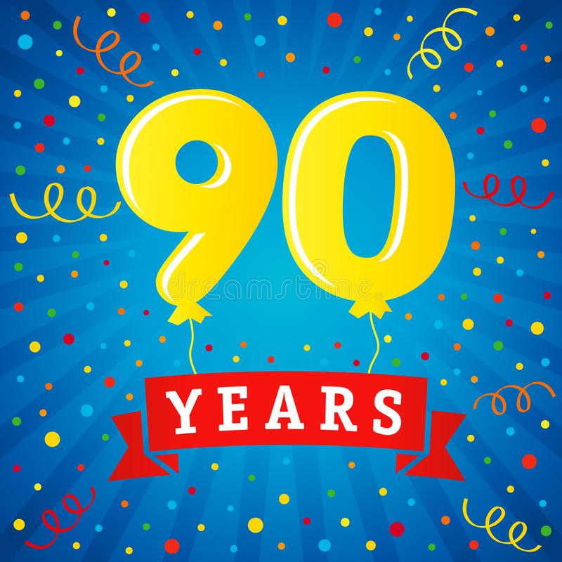 90 years anniversary celebration with colored balloons & confetti royalty free illustration